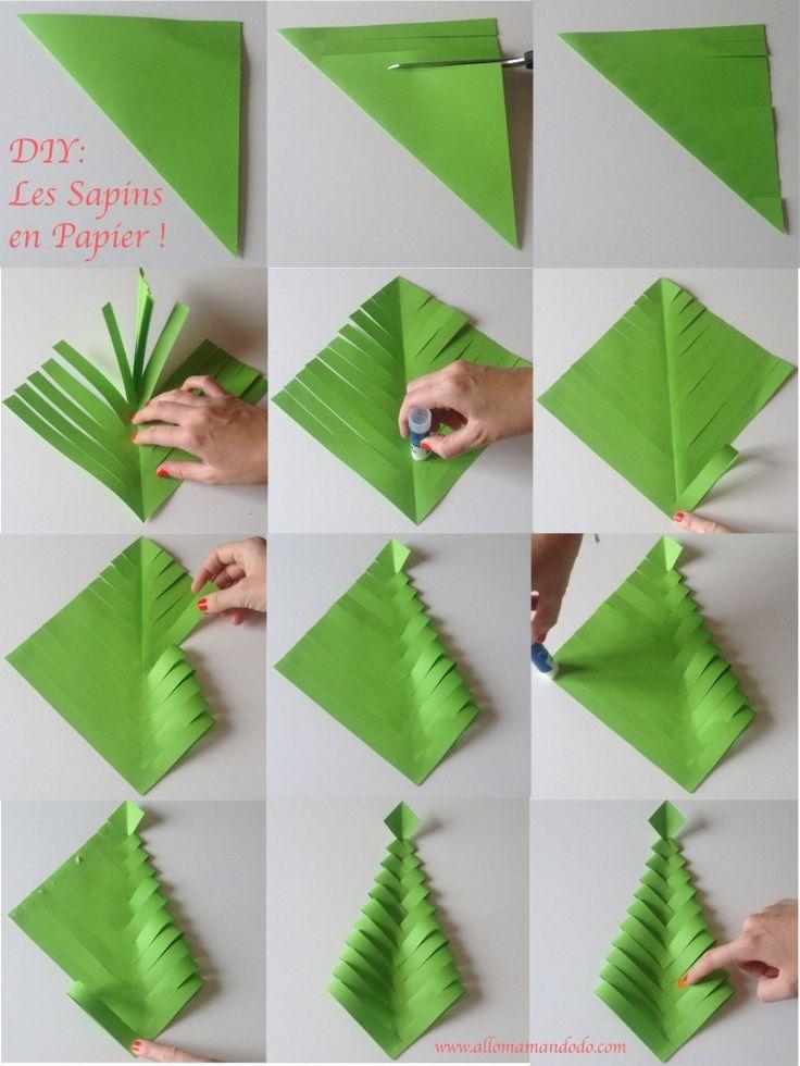 Fabrique des Sapins de Noël en papier (DIY facile et rapide