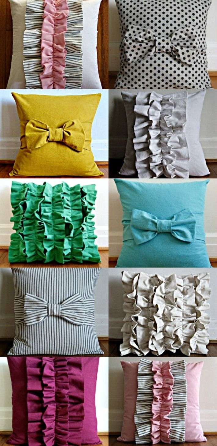 DIY pillows: Idea, Cute Pillows, Bows Pillows, Throw Pillows, Sewing Machine, Diypillow, Diy'S Pillows, Ruffles Pillows, Diy Pillows