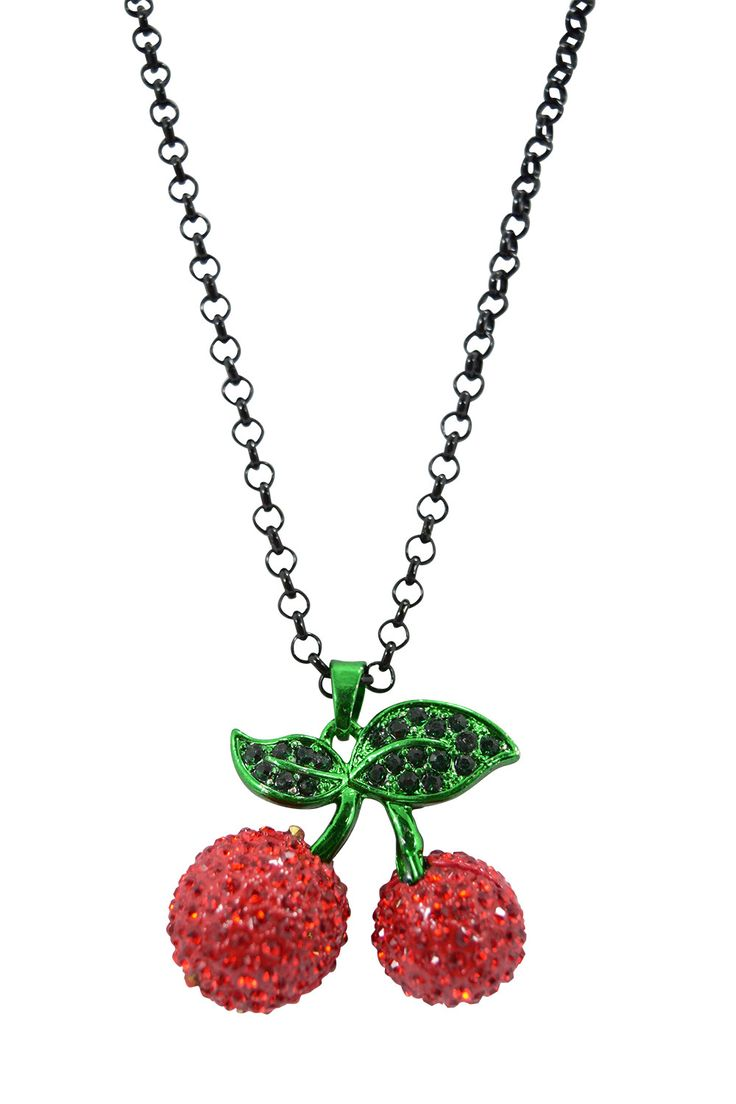 Songbird tattoo created at www mrsite com - Rockabilly Tattoo Girl Sparkling Red Cherry Pendant Necklace