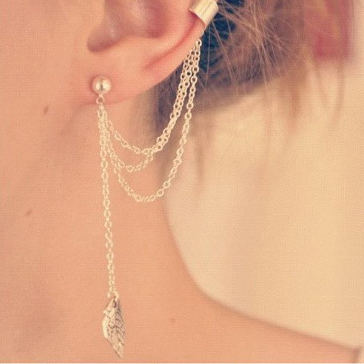 Women Girl Stylish Punk Rock Leaf Chain Tassel Dangle Ear Cuff Wrap Earring sterling silver and golden earrings in jewelry 1 pc.  (Cheap but shipping from China will take 10 days.)  http://s.click.aliexpress.com/e/7m62JQj6q