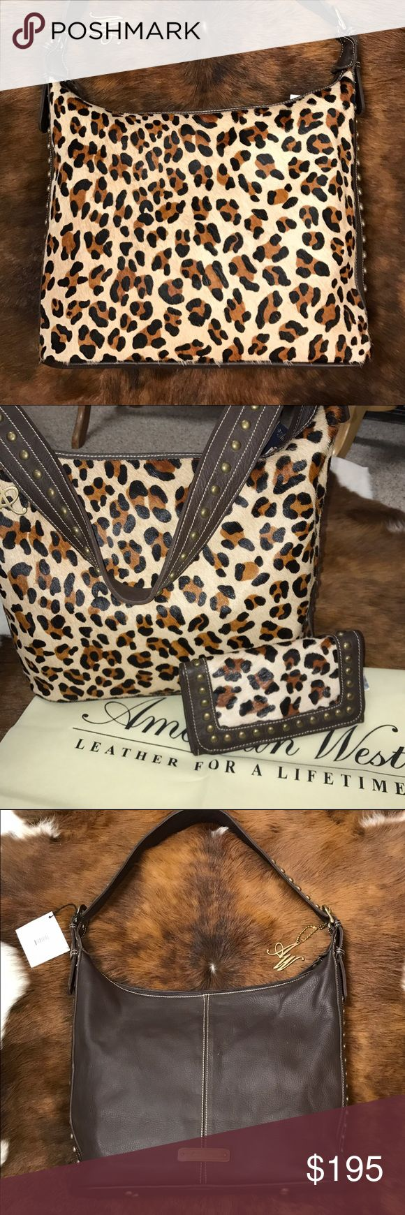 American West Leopard Print Bag Beautiful purse by American West!  Full leather with gold tone accents. Hand made, quality bag that will last for years!!  Fully lined with added compartments.  Matching wallet available separately. American West Bags Shoulder Bags