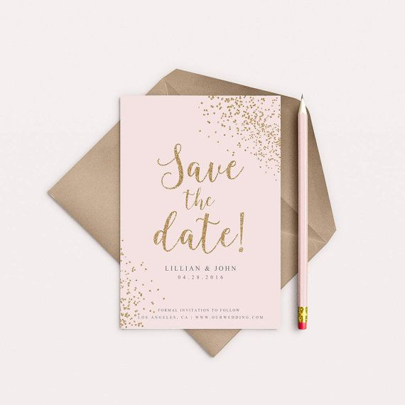 4x6 or 5x7 Inch Wedding Save The Date Gold by BirchandSparrow