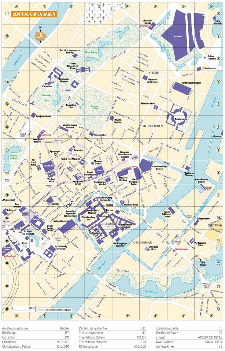 Tourist map of Copenhagen city centre