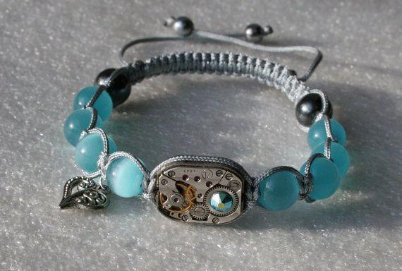 Womens Steampunk pulsera de abalorios de ópalo azul mexicano y