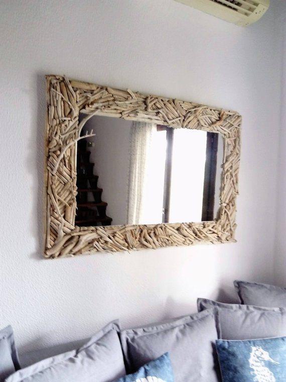 Driftwood Mirror Wood Wall Art Beach Decor Coastal Nautical