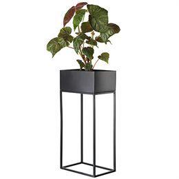 Blomsterstander i sort metal  H 75 x L 36 x B 24 cm