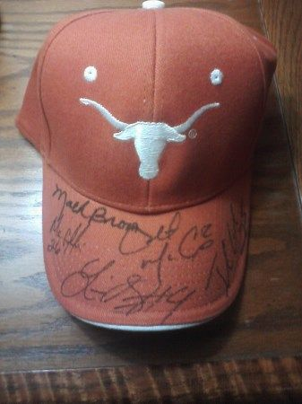 HAT SIGNED BY MACK BROWN COLT MCCOY JAMAAL CHARLES MICHAEL GRIFFIN LIMAS SWEED