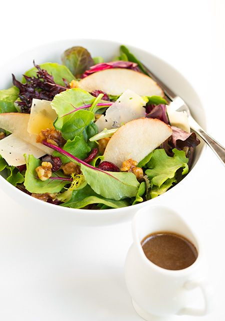 Autumn Pear Salad with Candied Walnuts and Balsamic Vinaigrette - Cooking Classy