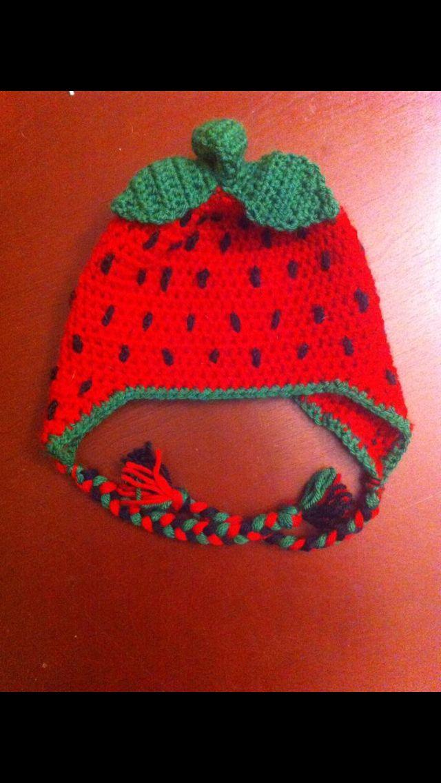 Strawberry crochet hat
