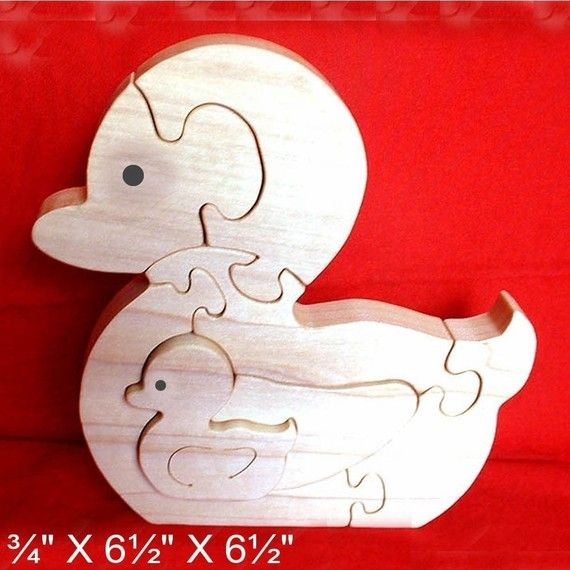 Duck With Baby Duckling - Childrens Wood Puzzle Game - New Toy - Hand Made - Child Safe