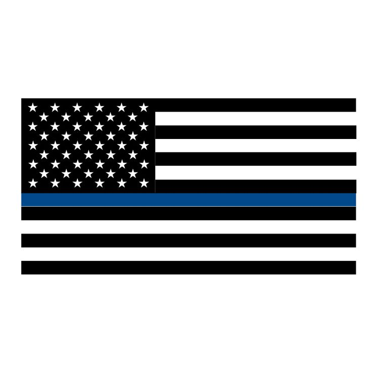 Thin Blue Line Flag Vinyl Decal Sticker. Cut from quality Oracal 651 vinyl and available in many colors and sizes