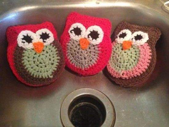 Crochet Owl Dish Scrubbies Super Cute Free Pattern | The WHOot