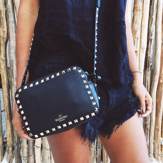 """All black everything in my new fave Valentino crossbody from @fwrd's Holiday Bag Shop!  #lookFWRD"""