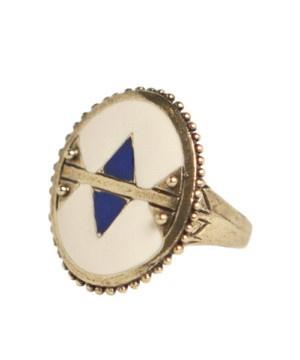 dream collective holon ring - navajo white/cobalt blue.