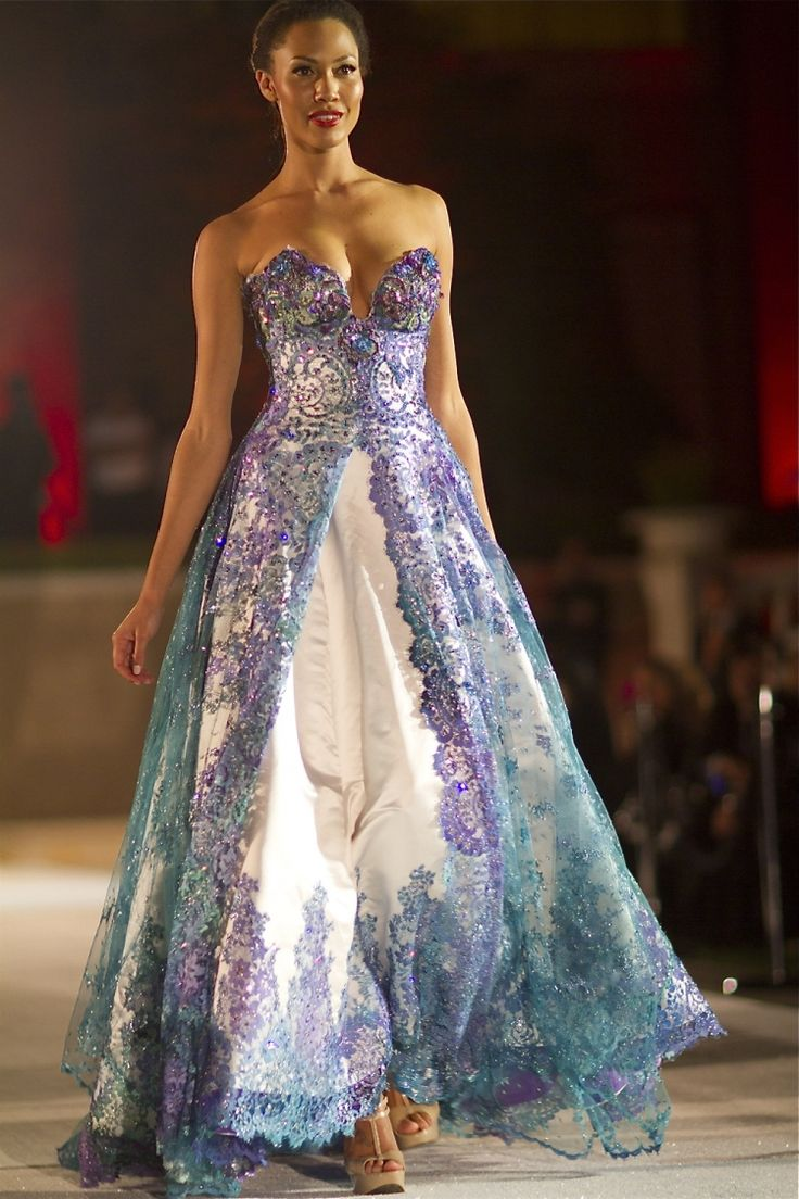 G haute couture hand painted evening gown made with the for French haute couture
