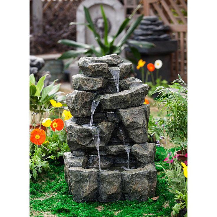 Have to have it. Jeco Rock Waterfall Indoor / Outdoor Water Fountain - $399.99 @hayneedle