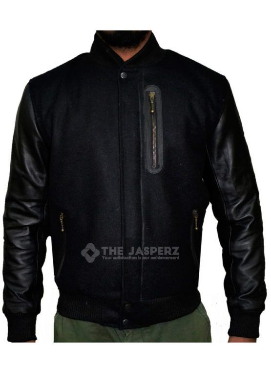 BATTLE BLACK LEATHER JACKET  Inspired by The Famous American Star Michael B Jordan And With His Roll in Creed Movie which was 2015 American sports drama film, it was directed by Ryan coogler the film stars Michael B. Jordan as Adonis Johnson Creed, Apollo's son, with Sylvester Stallone reprised the role of Rocky Balboa which is one of the Best part of the Movie  Further features of this jacket are:  Shell – Wool/Leather Sleeves Collar: stand-up collar Style Front: Full zip-up Clouser…