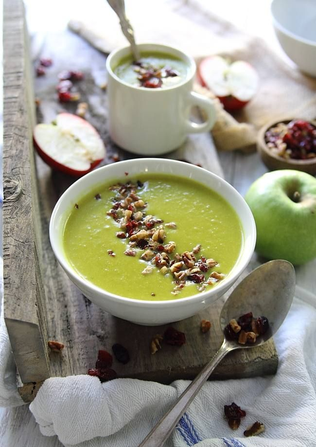 This leek apple cheddar soup is sweet, creamy and topped with chopped walnuts and cranberries.