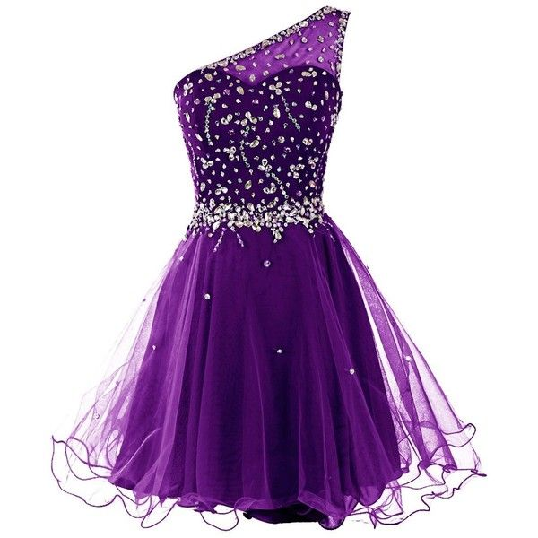 Dresstells Women's One Shoulder Prom Dresses Homecoming Dress with... ($50) ❤ liked on Polyvore featuring dresses, homecoming dresses, one-sleeve dress, purple prom dresses, one shoulder dress and beaded dress