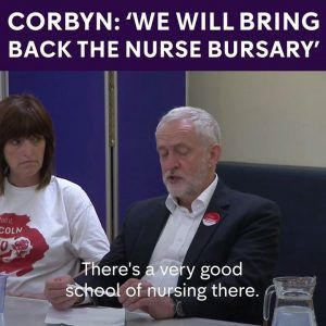 Labour leader Jeremy Corbyn promises to bring the nurse bursaries back straight away if he wins th #news #alternativenews