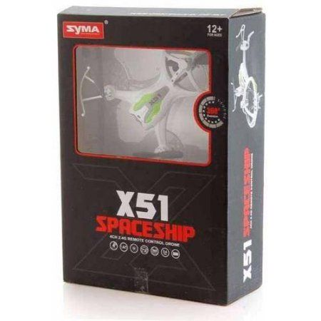 Syma X51 Spaceship 2.4G 4CH RC Quadcopter with Bonus Battery, White