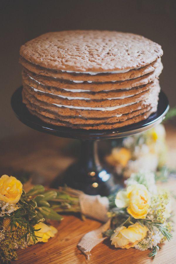 s'more wedding cake! // photo by Evynn LeValley Photography // cake by Big Sur Bakery // View more: http://ruffledblog.com/bohemian-big-sur-wedding/