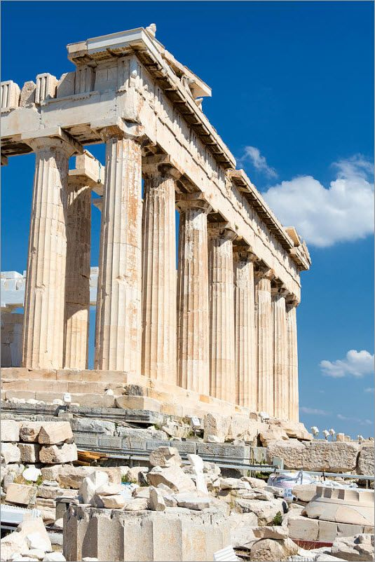 Parthenon, Ancient Greece 447-432BCE, marbel construction, located on the Acropolis in Athens, Greece, the terracotta roof and marbel construction style are indicative of the time period