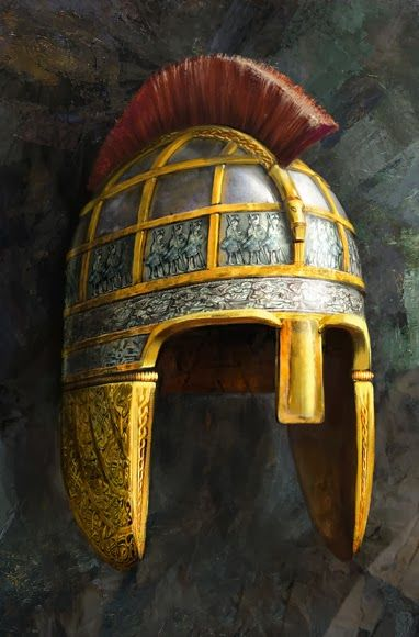 Realms Of Gold The Novel: The Staffordshire Hoard: Crowning Glory      An artist's vision of a helmet from the time of the treasure. Probably padded with horsehair or wool, the helmet cap was made of hammered iron for protection from slashing or thrusting blades. It could have included two pieces found in the hoard: an intricately worked cheek panel and a horse's head, the decorative end of a crest, perhaps of horsehair. -