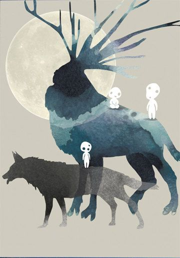Princess mononoke art print Miyazaki print wall by WhiteDoePrints