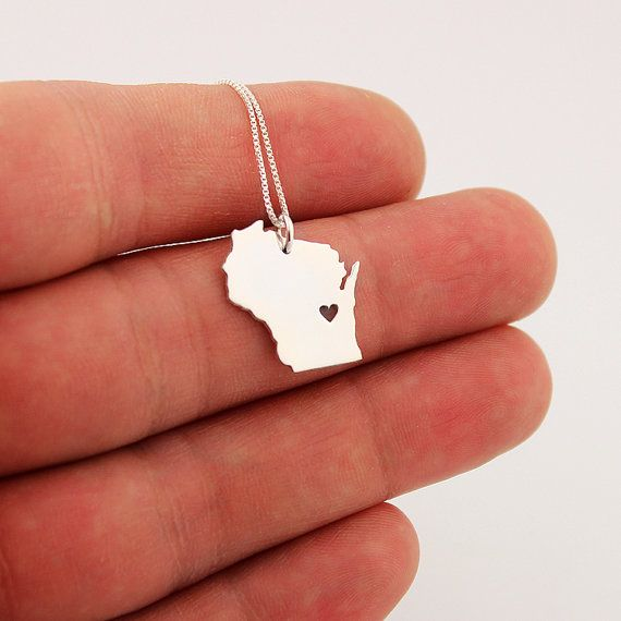 SALE Wisconsin State necklace sterling silver by Silversmith925