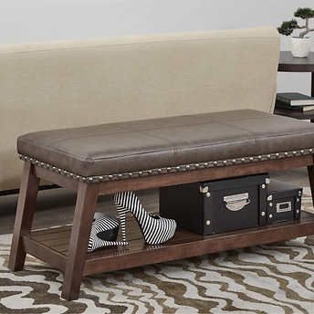 Emery Bonded Leather Storage Bench