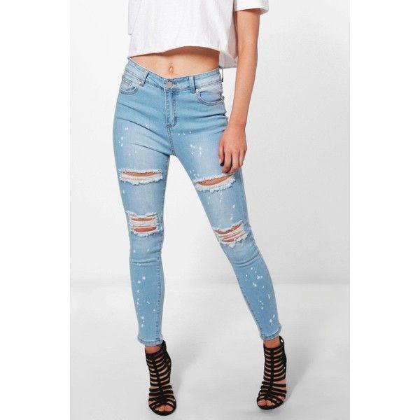 Boohoo Petite Luci Rip Knee Paint Splatter Skinny Jean (€39) ❤ liked on Polyvore featuring jeans, distressed jeans, petite skinny jeans, torn skinny jeans, skinny jeans and ripped skinny jeans