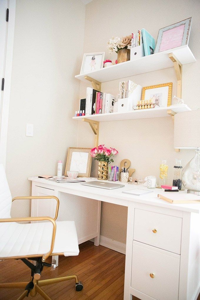 Looks For Less White And Gold Office Small Space Office Home