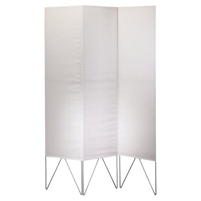 metal threepanel folding room divider with a stitched screen product room material steel and