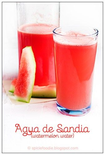 Agua de Sandia in Spanish literally translates to Watermelon water. Agua de Sandia is a flavor of Mexican beverages called aguas frescas (fresh waters) . These are beverages made of several ingredi…