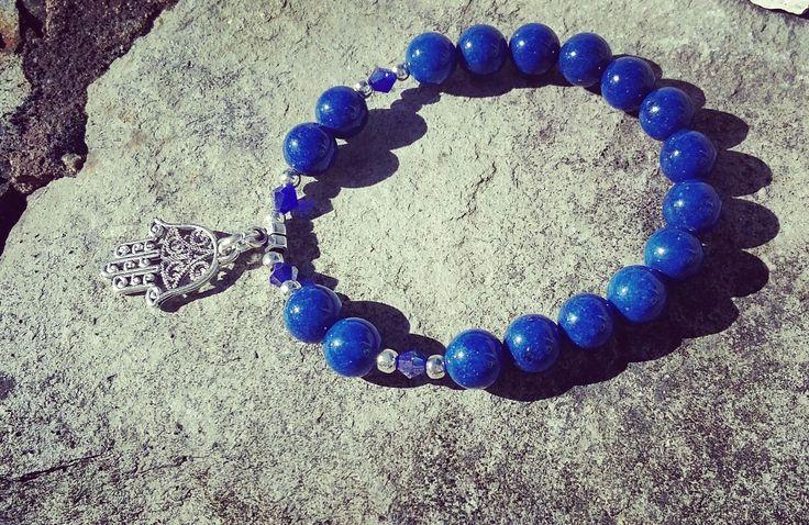 Lapis Lazuli and Hamsa healing gemstone bracelet, Reiki Meditation yoga Bracelet, Fifth /Throat chakra, Wrist mala