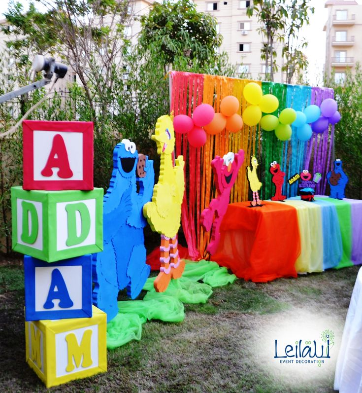 Candy Table for Sesame Street Themed Birthday Party Decorations by Leila Events (04082). For orders or further info call or whatsapp +201222220889