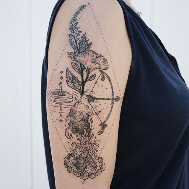The four directions and four elements: ginkgo and mugwort for earth in the north, the huntress' bow and arrow for the airy east, a tamed fire in the south, and a droplet of water in the west.  thanks Sarah!