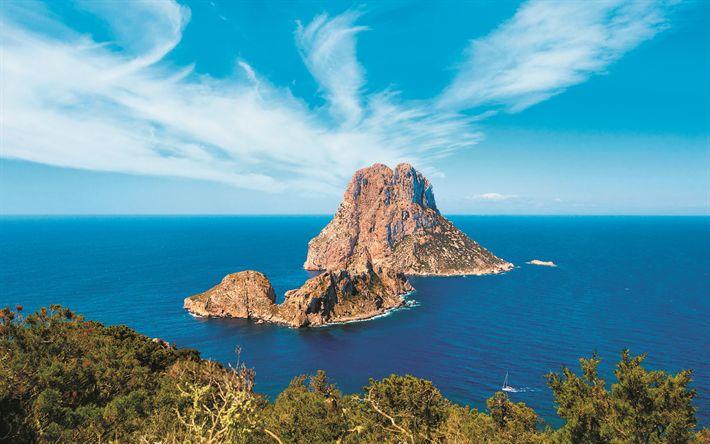 Download wallpapers Mediterranean Sea, Ibiza, Balearic Islands, rocks, coast, seascape, summer, 4k, Spain