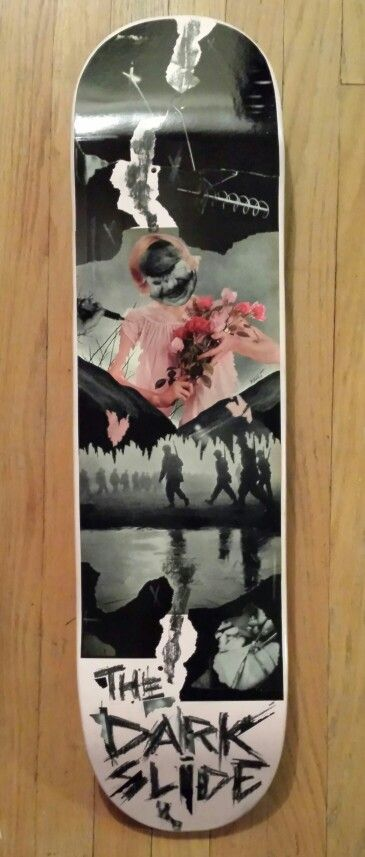"""""""a pace off the darkest slide"""" Original Skateboard Deck Artwork by Math.I  One of a kind hand crafted artwork on a 8"""" x 31"""" skateboard deck click on photo to purchase *note this deck is currently showing at Eronel 285 Main St. Dubuque, IA"""