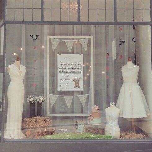 Shop window display June 2015 at the Bridal Emporium in Leeds. Festival theme wedding!