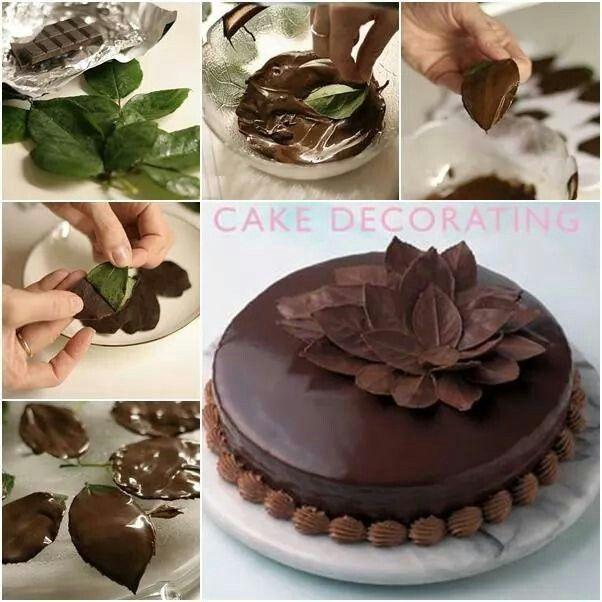 Decoracion torta con hojas de chocolate