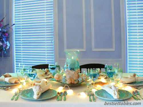 Under The Sea Table Decorations Home Table Settings Elegant Sea Scape Table Decor Mermaid Theme Decorations Pinterest Home The O Jays And