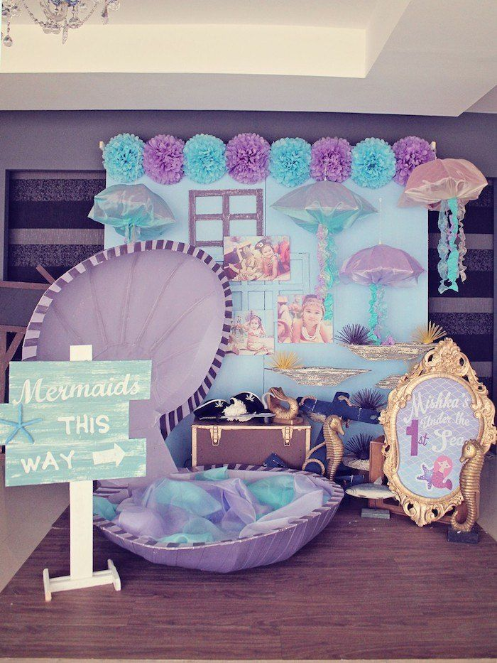 Mermaids vs. Pirates Themed Birthday Party with So Many Really Cute Ideas via Kara's Party Ideas KarasPartyIdeas.com #mermaidparty #piratepa...