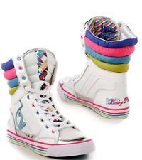"""BABY PHAT """"MILAN CAT HI"""" WHITE SNEAKERS TRAINERS BOOTS"""