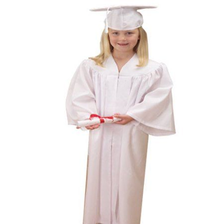 White Graduation Cap And Gown, Sold By 3 Pieces
