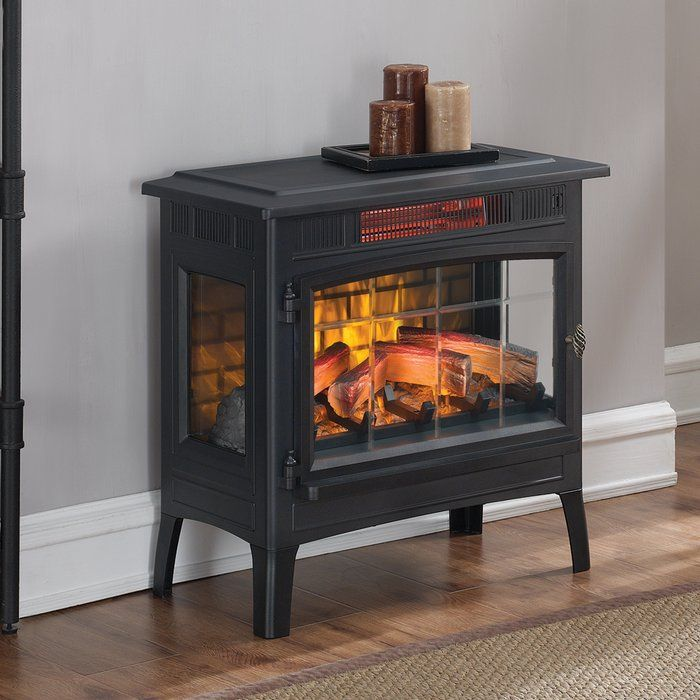 Functional and beautifully detailed with scored glass, this stove is destined to be a standout piece in your home. It provides supplemental zone heating for up to 1,000 square feet. The infrared quartz heat provides even heat that maintains the natural humidity in the air. This stove features patent pending 3 D flame effects providing an ultra realistic electric fire. The lPyered flames dance and flicker in the front and back of the log set and ember bed display giving the appearance of a…