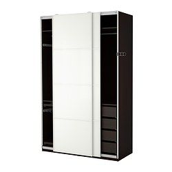 PAX, Wardrobe, black-brown, Färvik white glass