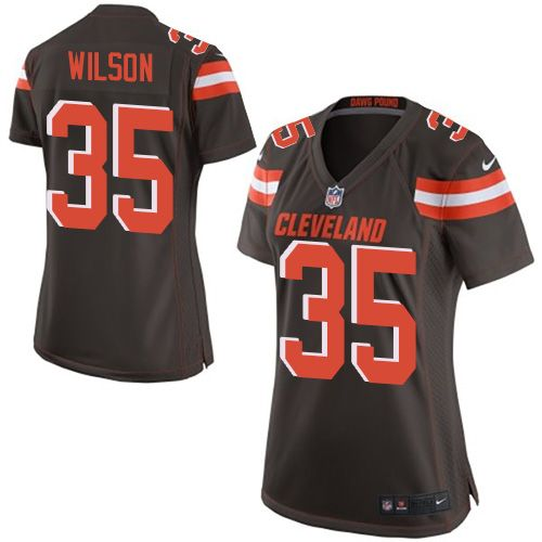 Women's Nike Cleveland Browns #35 Howard Wilson Game Brown Team Color NFL Jersey