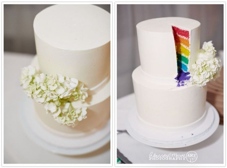 A Cute Wedding Cake Idea For Simplicity From The Outside With Plyful Touch Inside